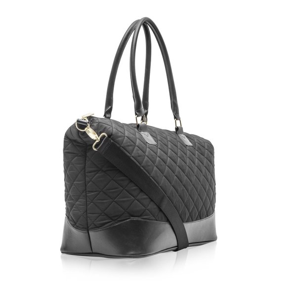 Cosmopolitan Quilted Weekender Bag B0377 COS Black Side Strap