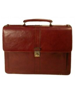 Stebco Flapover Top Grain Leather Executive Briefcase 367061 Caramel Front
