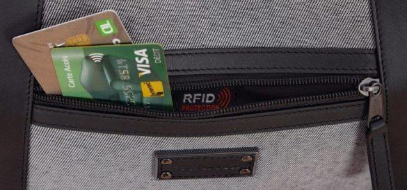 Renwick Messenger Shoulder Bag with RFID Protection E0500 RW Grey Pocket