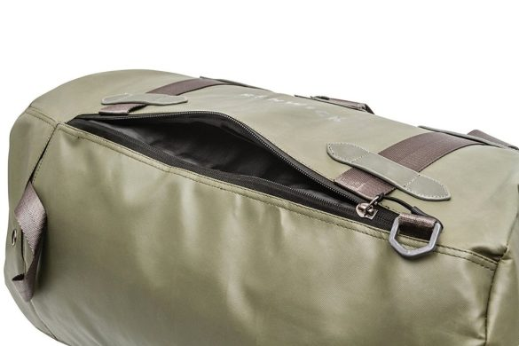 Renwick Travel Roll Top Duffel Bag with Backpack Straps B0380 RW Green Front Zip