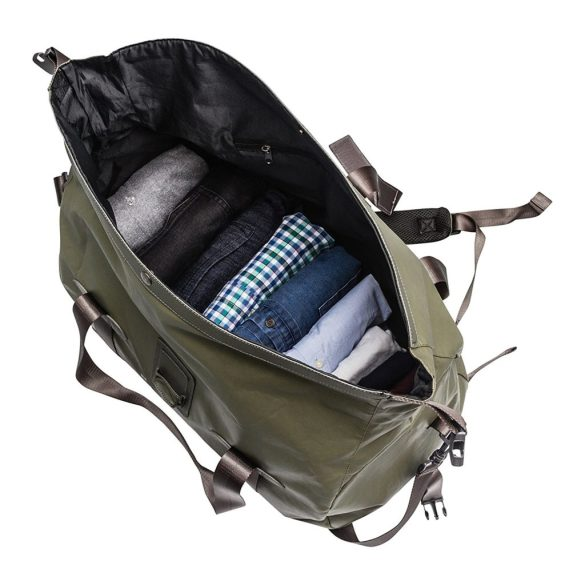 Renwick Travel Roll Top Duffel Bag with Backpack Straps B0380 RW Green Open