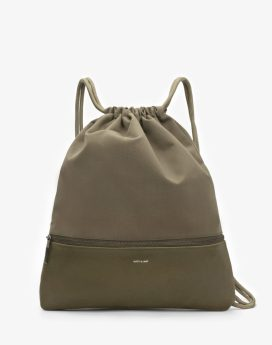 Matt and Nat Dory Drawstring Bag Canvas Collection Olive Front