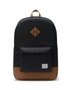 Herschel Supply Co Heritage Backpack Black Tan Synthetic Leather Front