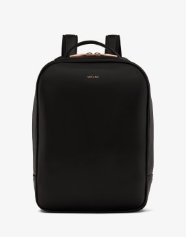 Matt and Nat Alex Backpack Loom Collection Black Rose Gold Front