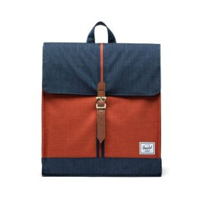 Herschel Supply Co City Backpack Mid-Volume Indigo DenimPicante CrosshatchTan Front 1