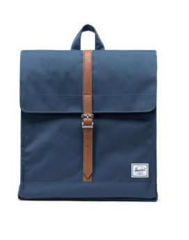 Herschel Supply Co City Backpack Mid-Volume Navy Tan Synthetic Leather Front 1