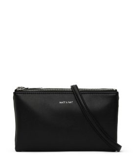 Matt and Nat Triplet Crossbody Loom Collection Black Shiny Nickel Front