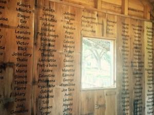 Memorial to the known names of slaves on Oak Alley in the replicated slave quarters