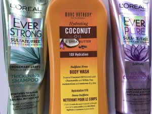 Travel Beauty- L'Oreal Ever Strong shampoo and conditioner and Marc Anthony sulfate free body wash