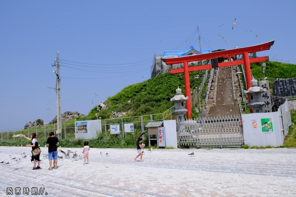 維修中的蕪嶋神社,不減人鷗同樂的興致。