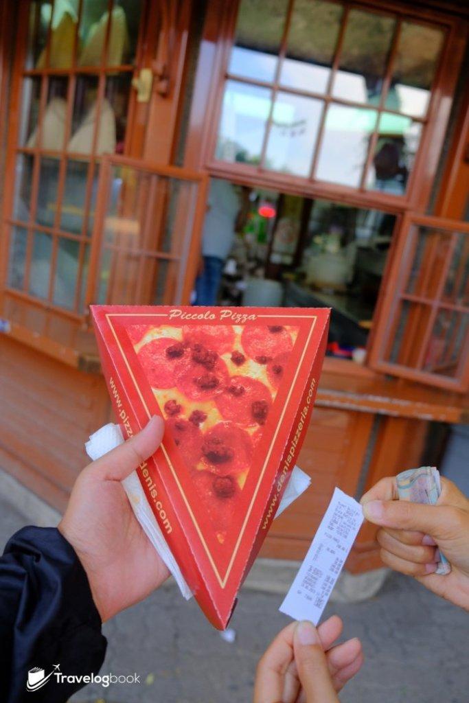 肚子餓了,在小食亭買件Pizza(180 rsd)。
