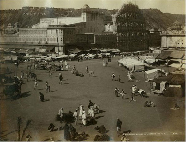 Description: Hawa Mahal, Palace of the Winds, Jaipur, and the Principal Street; Date: c. 1875