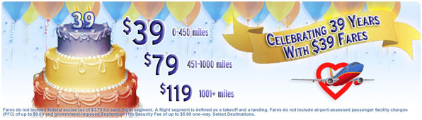 Southwest Airlines $39 Birthday Sale