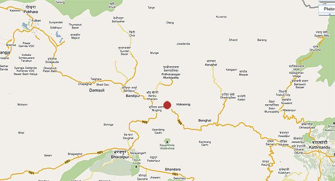 Location of Manakamana Cable Car