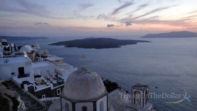 Sunset with volcano from Fira