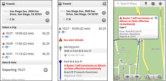 Live service alerts when receiving transit directions