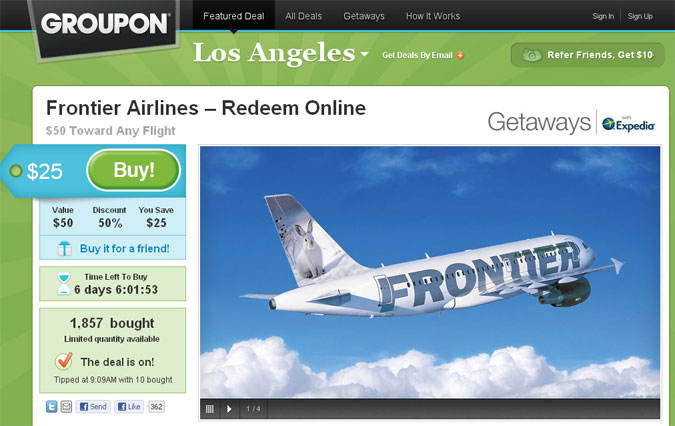 Groupon Frontier Airlines Deal