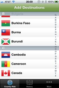 Select countries