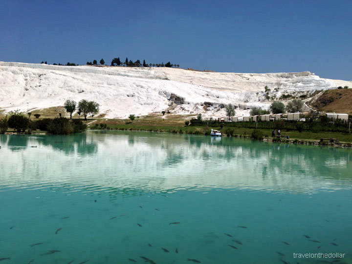 Pamukkale travertines from the town