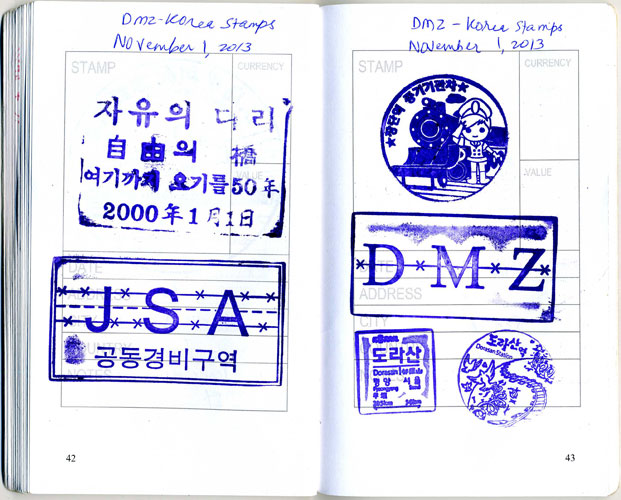 Stamp in Hiroshima, JapanStamps DMZ, South Korea