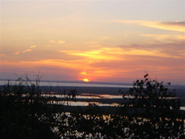 Sun setting over Tonle Sap lake