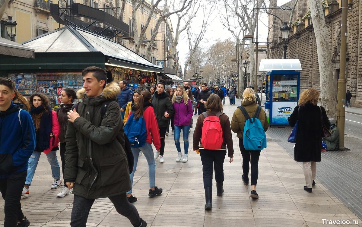Rambla Barcelonában márciusban