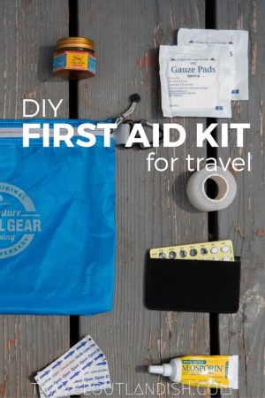 A DIY First Aid Kit for Travel for those times when your feet blister, your arm itches, and you're far from the nearest pharmacy.