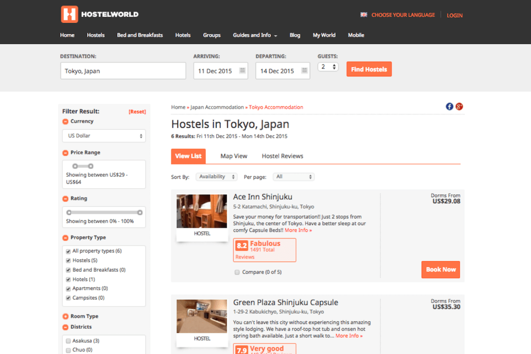Hostelworld.com Search Results