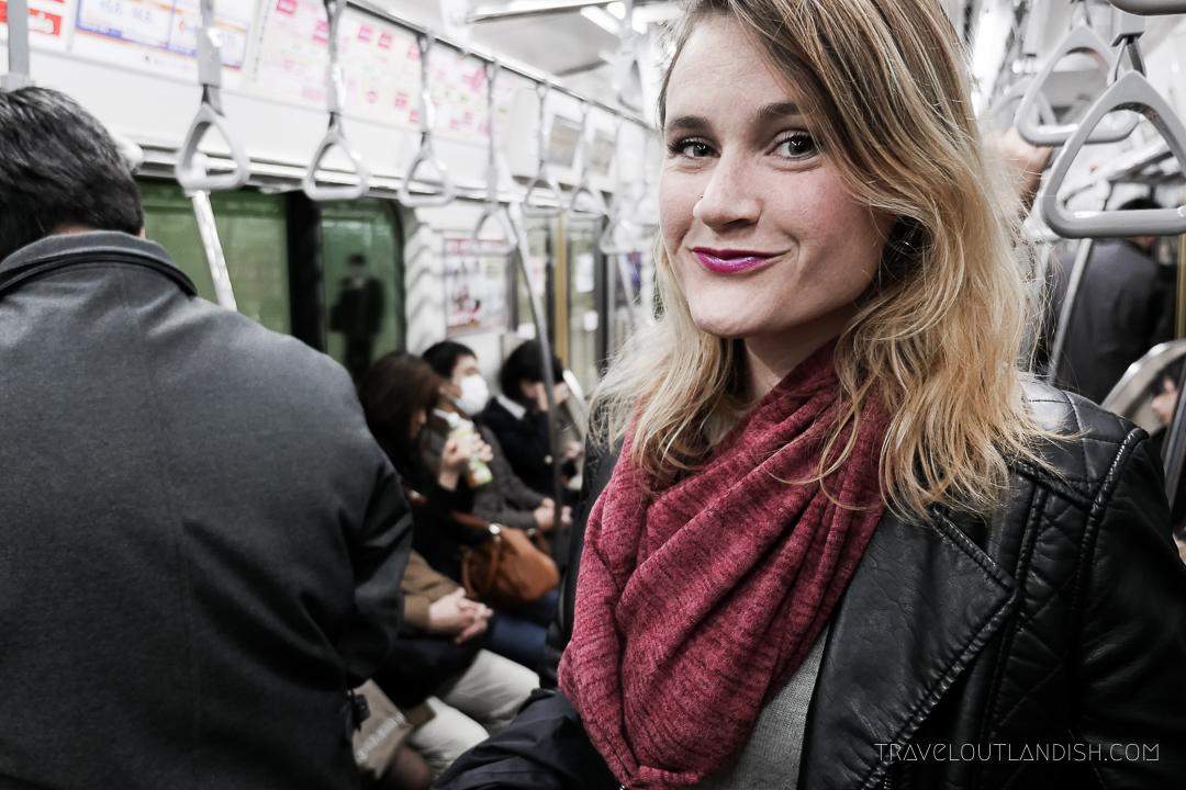 Speakeasy Travel Scarf with Hidden Pocket on Tokyo Metro