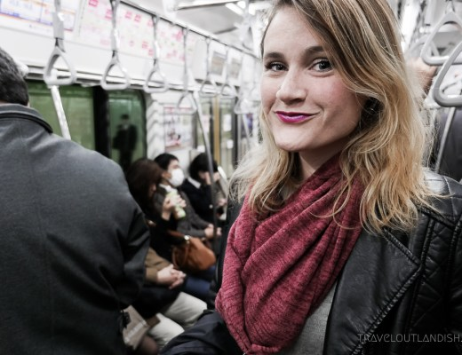 Speakeasy Travel Scarf with Hidden Pocket on Tokyo Metro