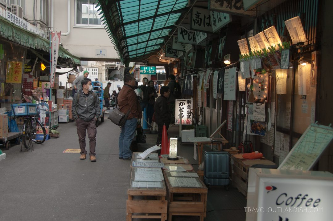 A alley of vendors near Tsukiji