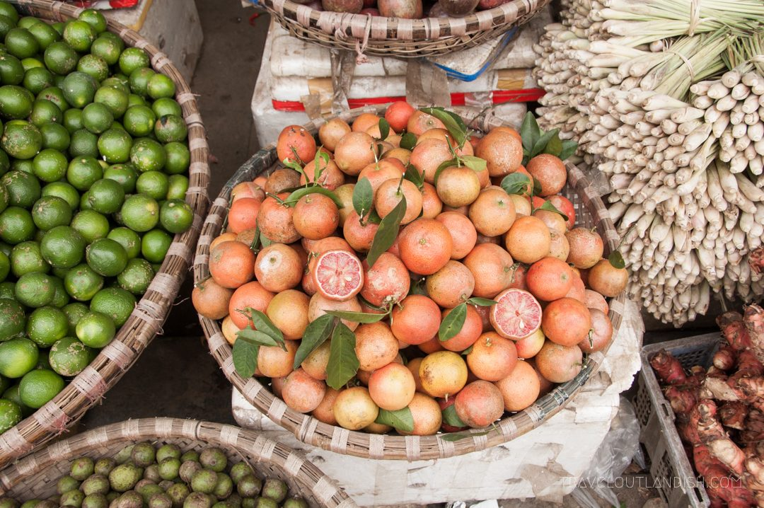 Northern Vietnamese Street Food - Fruit Basket in Hanoi Market