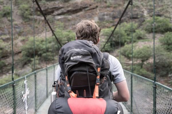 Choquequirao Trek - Daniel Crossing the Bridge