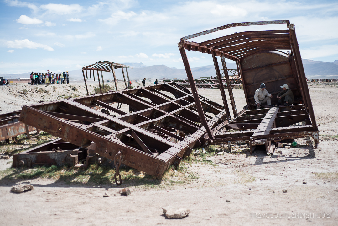 Exploring the wreckage at the Great Train Graveyard outside of Uyuni