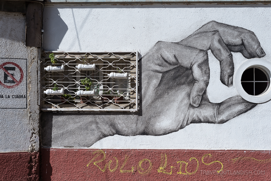 Vaparaiso Street Art - Hand Grabbing Porthole