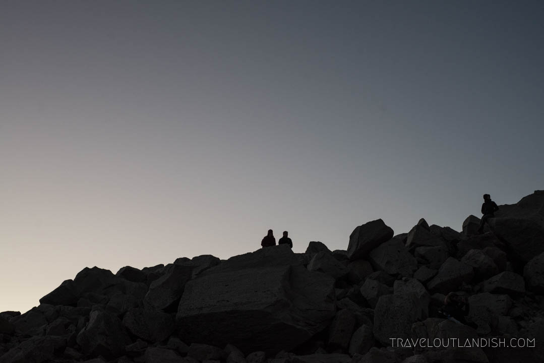 Hiking to Torres del Paine before sunrise on day 8 of the O Circuit