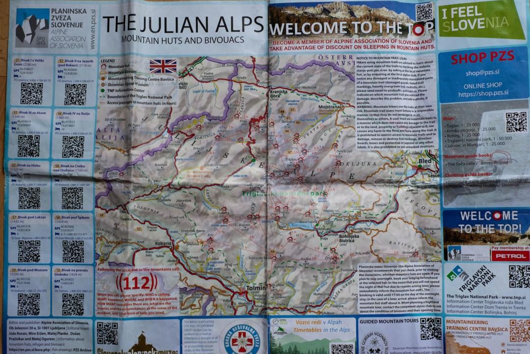 Hut to Hut Hiking Slovenia - Triglav National Park Map