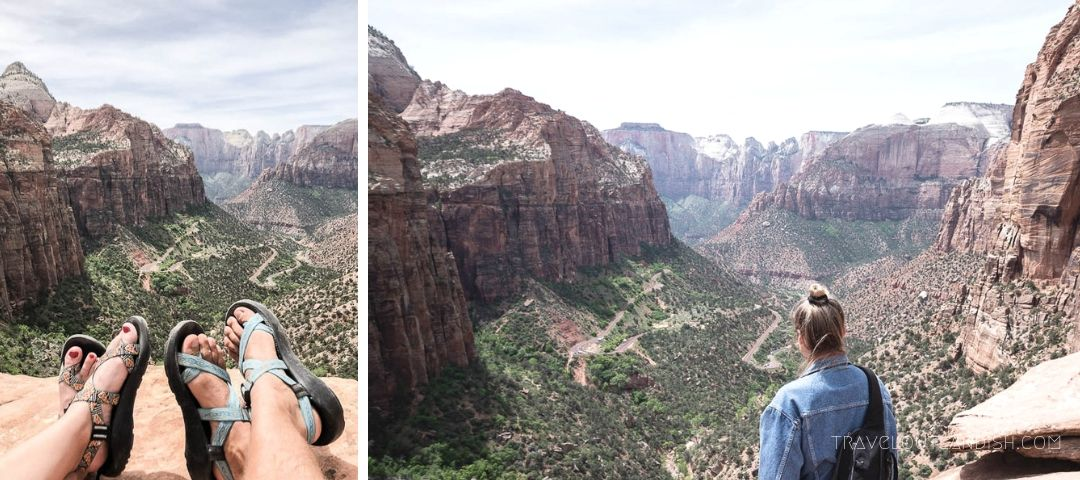 Collage of us twinning in Chacos overlooking Zion Canyon and me overlooking the canyon