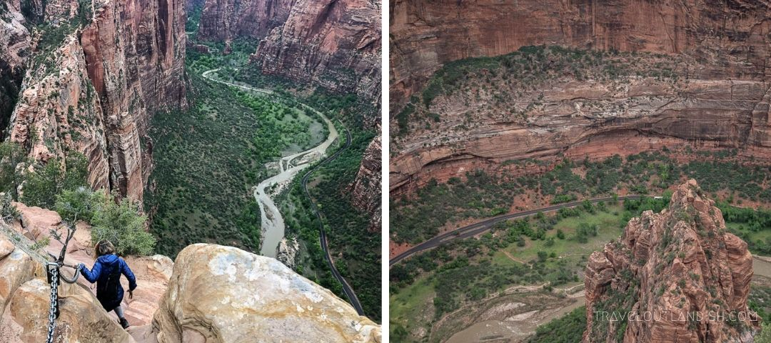 Collage of the Descent from Angel's Landing in Zion National Park