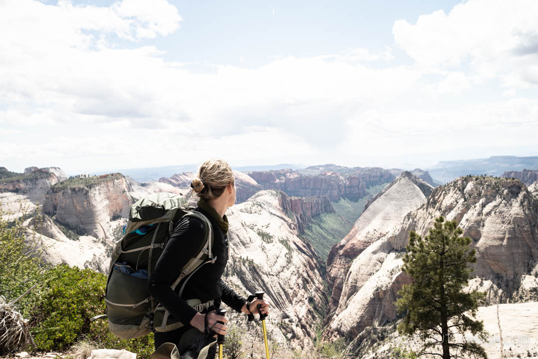 Hiking the West Rim on Day 3 of the Zion Traverse