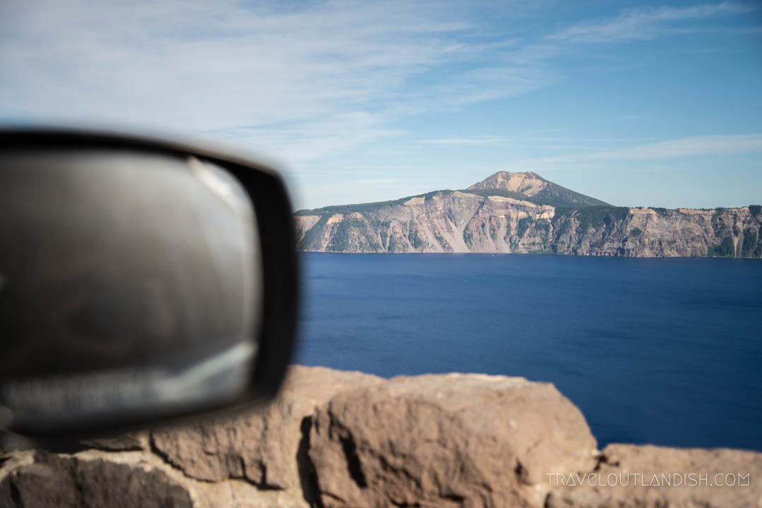 View out the window on the Crater Lake Rim Drive, one of the best things to do in Crater Lake National Park