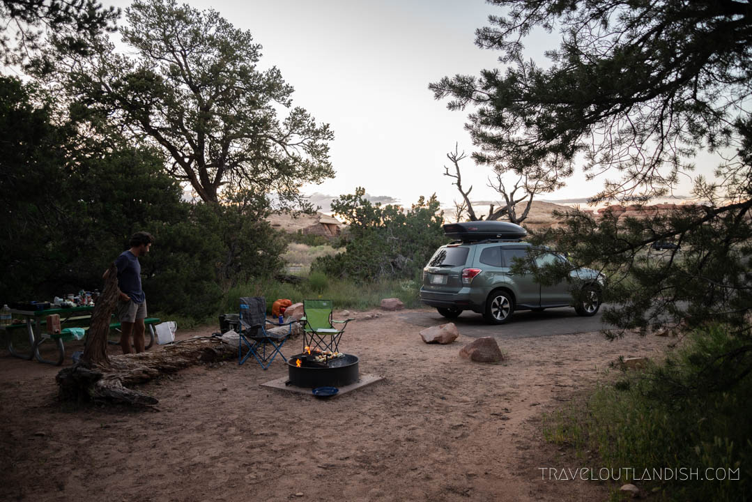 Camping out the night before our backpacking trip in Canyonlands
