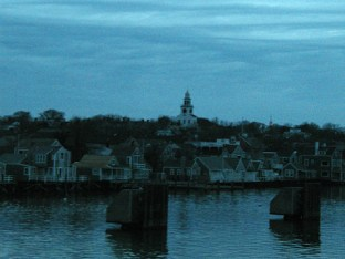 Town of Nantucket at dusk.