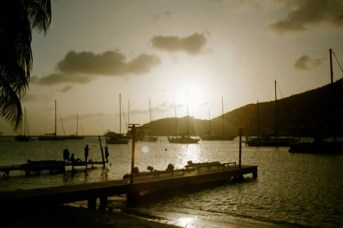 Dingy Dock for the Frangipani at sunset