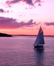 Sailboat entering Vineyard Haven