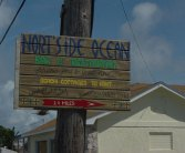 Sign to Northside Inn Beachfront Cottages & Restaurant, Eleuthera
