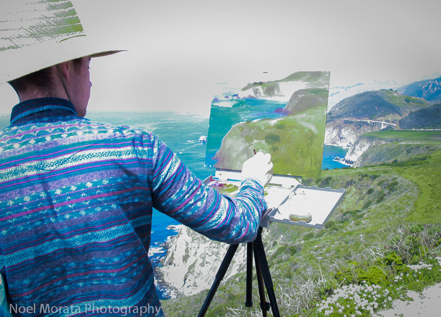 Painting plein air in fronting Bixby bridge
