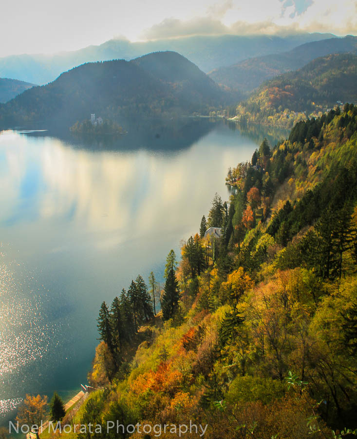 More colorful autumn views of Lake Bled from the castle