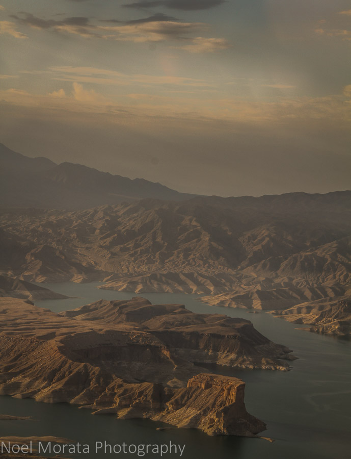 A view of Lake Mead and the water level table