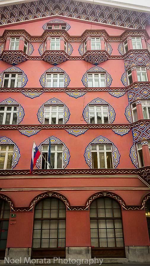 Colorful and unique Ljubljana architecture